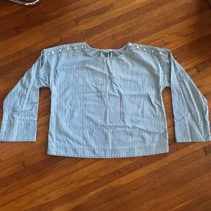 Madewell blue white stripe button shoulders